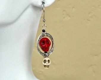 Dark Red Skull Earrings with Small White Skull #1077