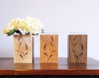 Wood Vase - Engraved Wood Vase - Wood Home Decor- Lavender
