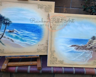 """Buy pair and save!  """"Laguna Beach #1 and #2 with decor""""  20"""" X 24""""  Original Oil Paintings, オリジナル油彩画by Yoko Collin"""