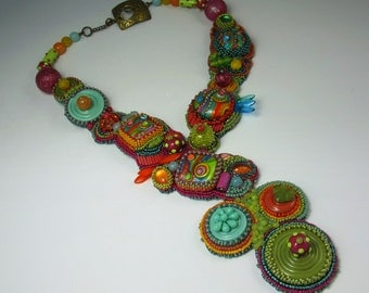 SOLD.  Multi-color Bead Embroidery Necklace