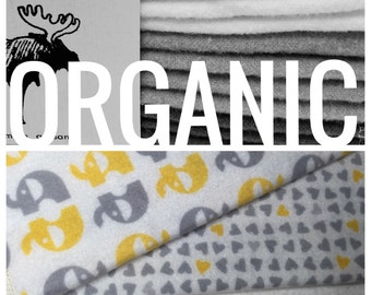 Organic Cloth Baby Wipes - Reusable Baby Cloth Diaper Wipes - Set of 12 Wipes - Yellow Elephants/Hearts