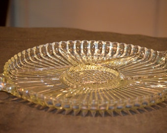 Daisy Flower Design Clear Glass Segmented Platter