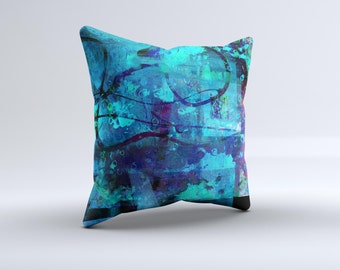The Abstract Blue Vibrant Colored Art ink-Fuzed Decorative Throw Pillow