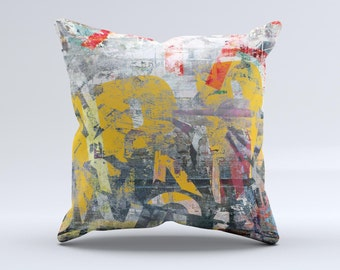 The Vibrant Colored Graffiti Mixture ink-Fuzed Decorative Throw Pillow
