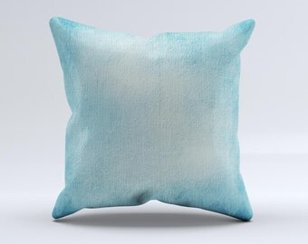WaterColor Blue Texture Panel ink-Fuzed Decorative Throw Pillow