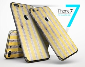 Vintage Brown and Yellow Vertical Stripes - Skin Kit for the iPhone 7 or 7 Plus, 6 or 6s Plus, 5/5s/SE, 5c & More