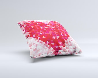 The Geometric Faded Red Heart ink-Fuzed Decorative Throw Pillow