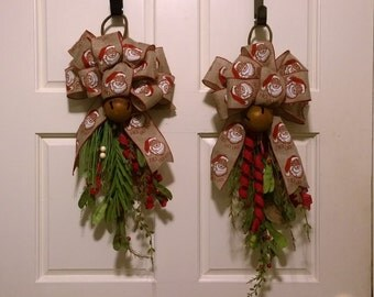 Double Door Christmas Teardrops with Santa Bows and Rustic Bells