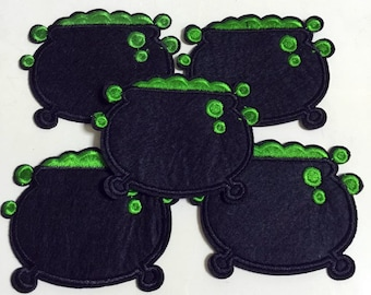 10pcs Halloween Wtich Brew Pot Iron On Sew On Cloth Embroidered Patches Appliques Machine Embroidery Needlecraft