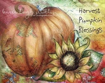 Harvest Pumpkin Blessings Mixed Media Print