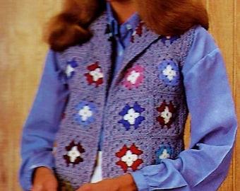 Granny Square Vest Vintage Crochet Pattern Download