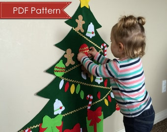 Felt Christmas Tree DIGITAL PATTERN - No Sew DIY Printable pdf - Large Tree 3 Feet Tall - Kids Decorate Toy Activity - Preschool Holiday Fun