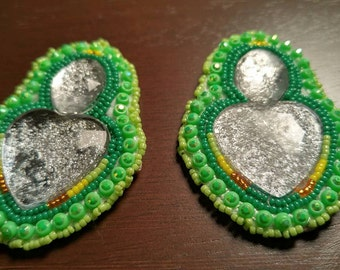 Green Heart Post Earrings