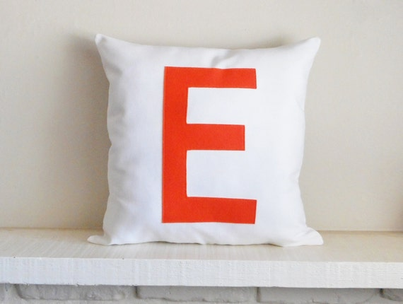Monogram pillow - cover / Initial / Lots of colors / Personalize your pillow / orange pillow / wedding gift / letter decor / Custom pillow