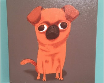 Canvas Print Petit Brabancon Brussells Griffon Dog Illustration Art