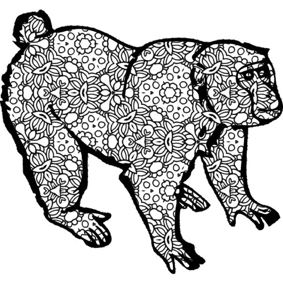 Items similar to Monkey Adult Coloring Page - Printable ...