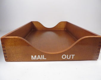 wood letter tray dark wood desk tray
