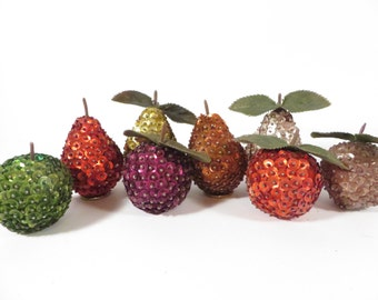 Vintage 8 Piece Sequined Fruit - Beaded Sequined Apples and Pears
