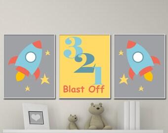 Baby Boys Nursery Space Art Print, Boys Rocket Art Print, Wall Art Print, Boys Bedroom Decor N125,126,127 - Custom Color