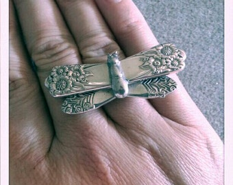 Vintage spoon butterfly ring sz 7 sterling silver ring