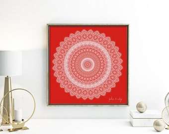 Red and white art bright mandala print for wall sacred geometry poster holiday decor boho gift idea bohemian gypsy art print home office art