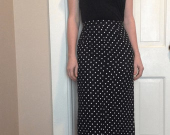 Vintage 90's LINEN POLKA Dot WIGGLE Skirt