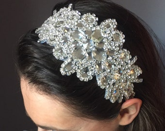 Vintage Silver Diamante Headband Bridal Headband 1920s Flapper Gatsby Wedding