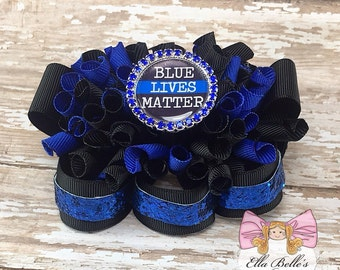 Blue Lives Matter Funky Loopy Bow~ blue lives matter bow, ott hairbow