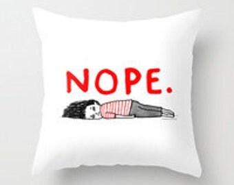 "Cute ""nope"" Decorative Micro Fiber printed pillow cover"