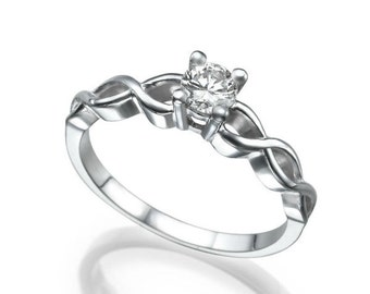 0.52 CT Solitaire Diamond Engagement Ring Platinum Round E SI1 Model DR-WAVE
