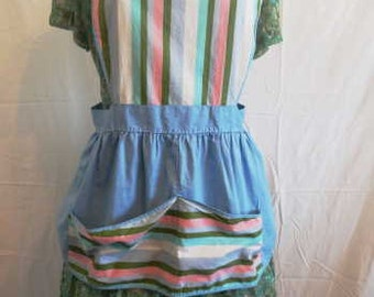 1950s Striped Cotton Pinafore Artists Smock Apron Full Skirted Short Apron
