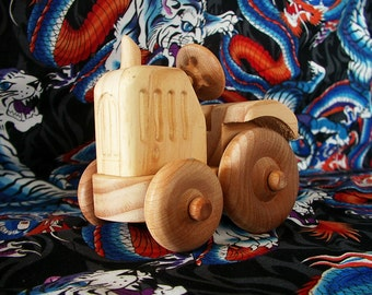 Wood Toy Tractor with bonnet detail