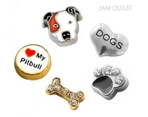PIT BULL Dog Lover Charm(s) Set  - You Choose 1 - 5 Pitbull Floating Charms -  Fits all Living Memory Origami Lockets, Key Chains, Bracelets