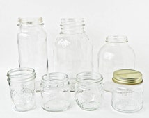 Vintage Clear Glass Jars - Different Sizes Shapes - Instant Collection - Ball Perfect Mason Half Pint - One Screw on Lid