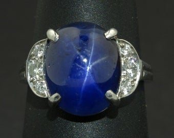 The Tiffany & Co Art Deco Star Sapphire and Diamond Ring, signed, circa 1922, boho luxe, estate