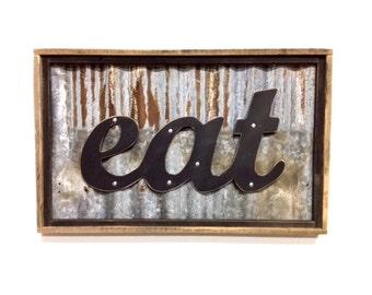 EAT sign, rustic eat sign, kitchen/diner art, birthday gift, party decor, black eat sign, metal eat sign