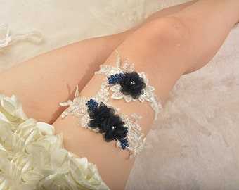 navy blue bridal garter, wedding garter, bride garter, lace garter, something blue garter, rhinestone beaded lace garter