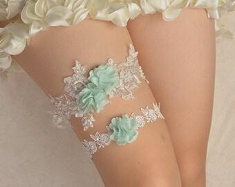 bridal garter, wedding garter set, bride garter ,off-white floral chiffon garter,beaded  garters for wedding,apple green garter,toss garter