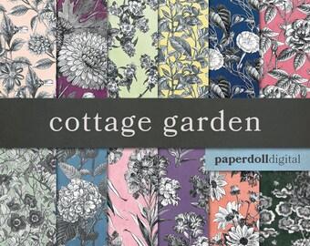 Vintage Floral Digital Paper - Victorian Floral Paper - Vintage Scrapbooking - Spring Digital Paper -  Instant Download - 12 Sheets