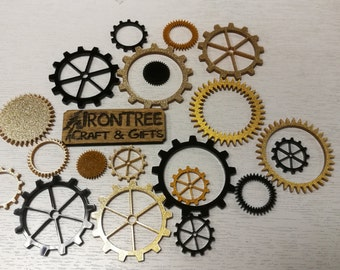 Steampunk Inspired Lasercut 3mm Acrylic Cogs - pack of 26 - Tinted Acrylic