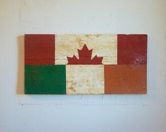 Half Canada Half Ireland Flag Wood Sign - Ireland sign - Canada sign - outdoor flag - outdoor sign - Ireland flag - Canada flag - Irish flag
