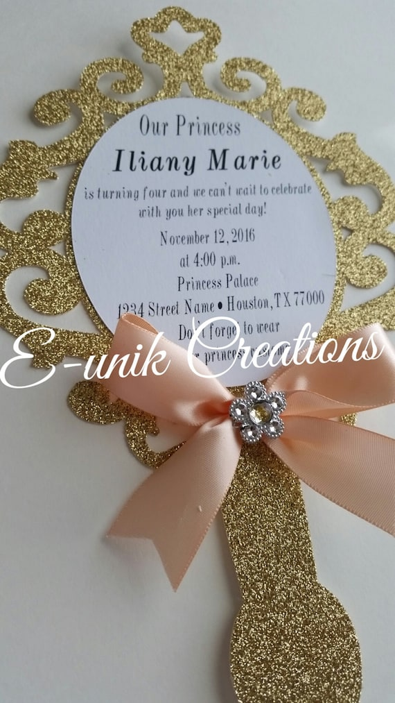 Princess Mirror Invitation Handheld Mirror Invitation