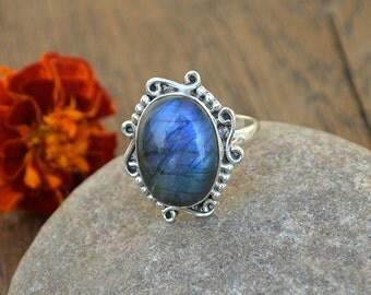 Blue Fire Labradorite Ring, Designer Statement Ring, 925 Sterling Silver Ring, Cabochon Labradorite Ring, Yellow Gold Labradorite Ring