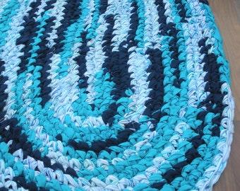 "42""x26"" Navy Blue, Turquoise and White, Oval Rag Rug, Hand Crochet Rug, Boy's Bedroom Rug, Boy's Nursery Rug, Braided Rug, Baby Boy Rug"