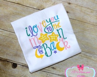 I Love You to the Moon and Back Embroidered Applique Shirt