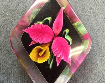 Carved Lucite Flower Brooch