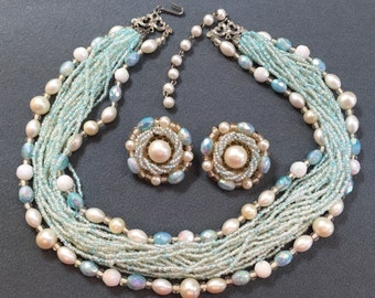 Glamorous Vintage Beaded Necklace and Earring Set- beautiful color!  Free shipping