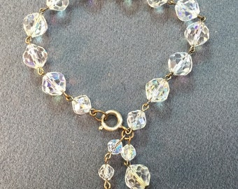 Aurora Borealis Vintage Crystal Bead Bracelet- Free Shipping