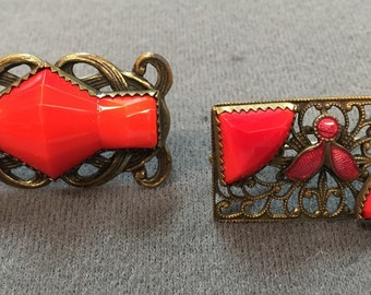 Two Art Deco Red Glass Brooches- Free shipping