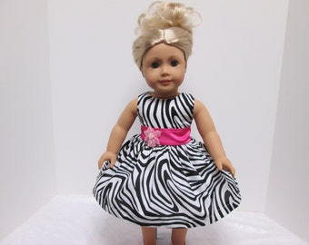 18 Inch American Girl Doll Clothes, Zebra Print Doll Dress